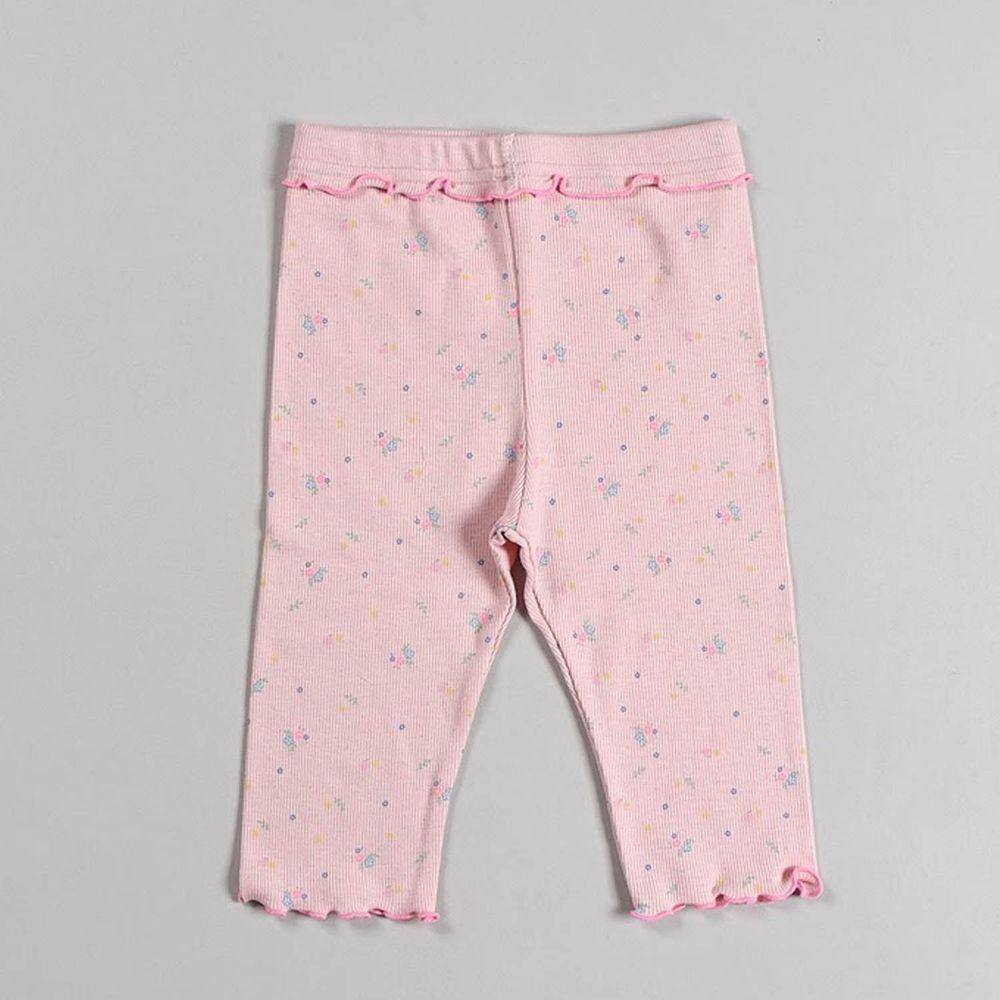 韓國 Dalla - 捲邊點點碎花5分內搭褲-粉紅