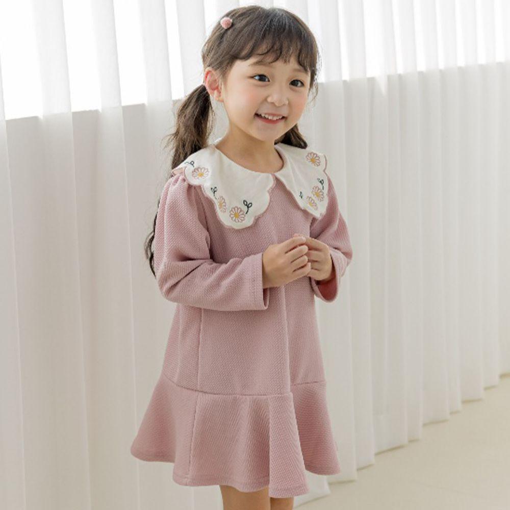 韓國 Orange Mom - 繡花領針織洋裝-粉紅