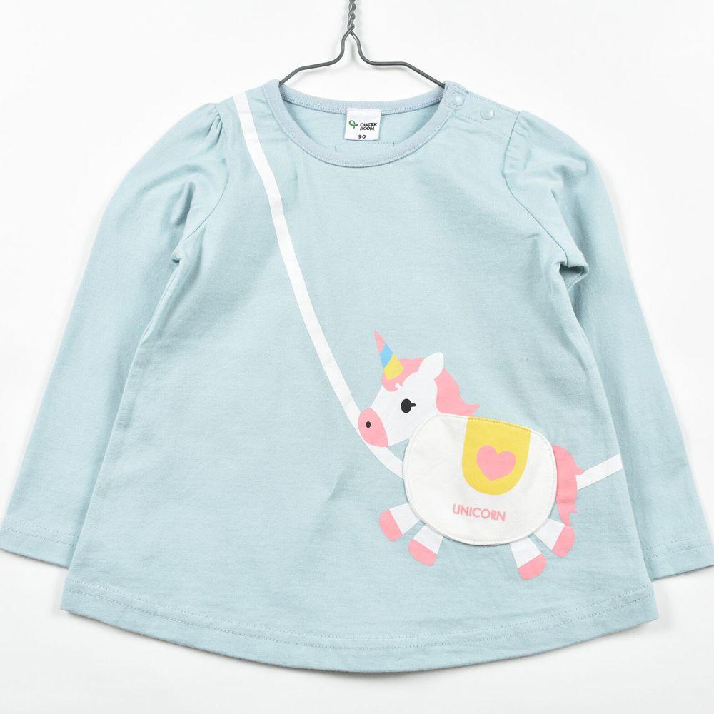 日本 Baby Room - 純棉立體翻翻樂長袖上衣-獨角獸包包-藍