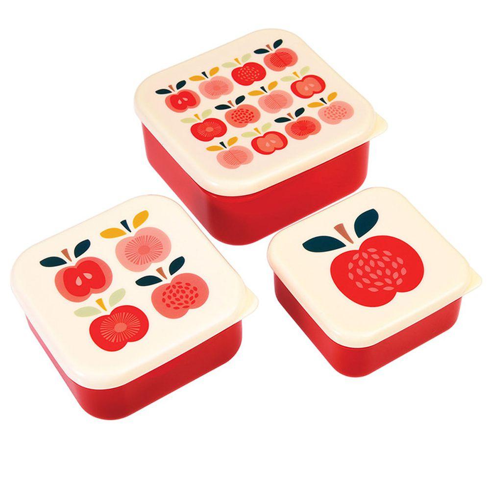 英國 Rex London - 餐盒/零食盒3入組-紅蘋果