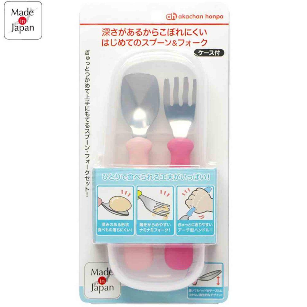 akachan honpo - 食物不易滑落叉匙組-粉紅色、紅色