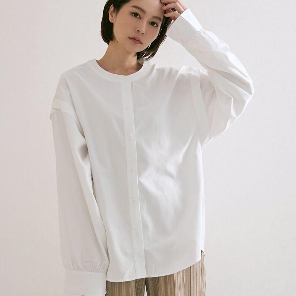 日本女裝代購 - 無印風無領長袖襯衫-白 (M(Free size))