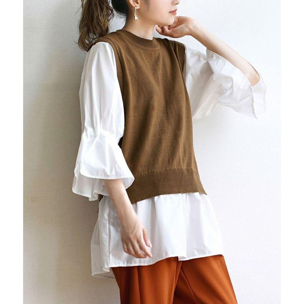 日本 zootie - 異材質拼接針織X棉質七分袖上衣-焦糖