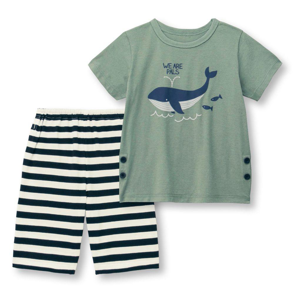 日本千趣會 - 純棉涼爽舒適短袖家居服(兒童)-鯨魚-墨綠