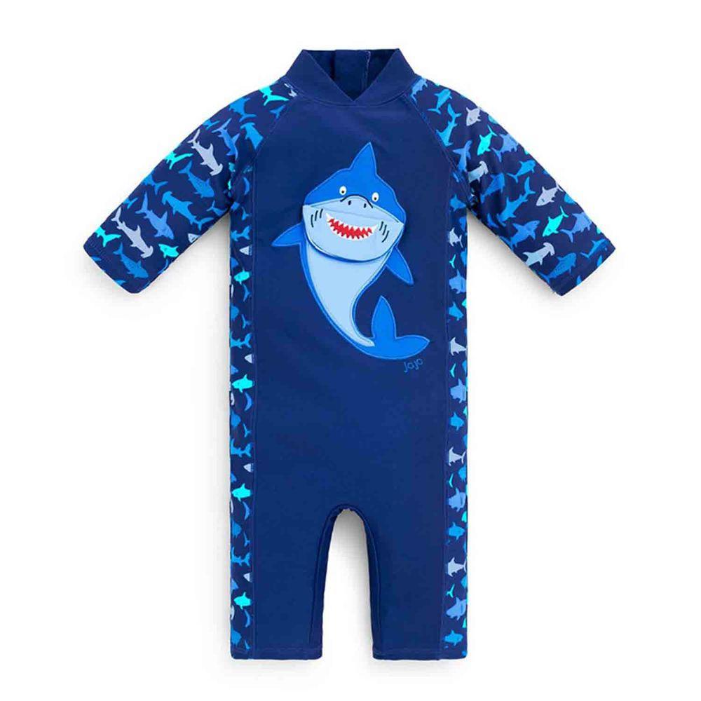 英國 JoJo Maman BeBe - 嬰幼兒/兒童連身式防曬泳裝-鯊魚玩耍