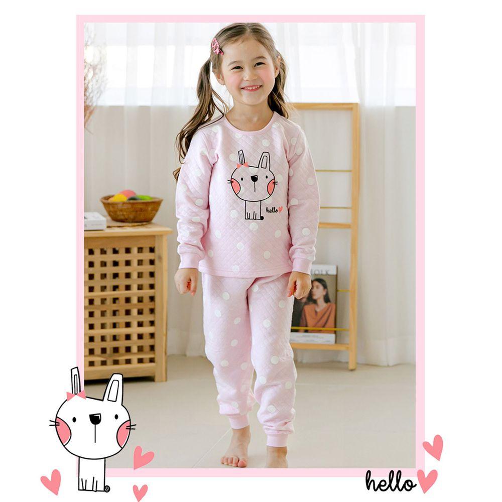 韓國 Maykids - 有機棉鋪棉保暖家居服-點點小兔