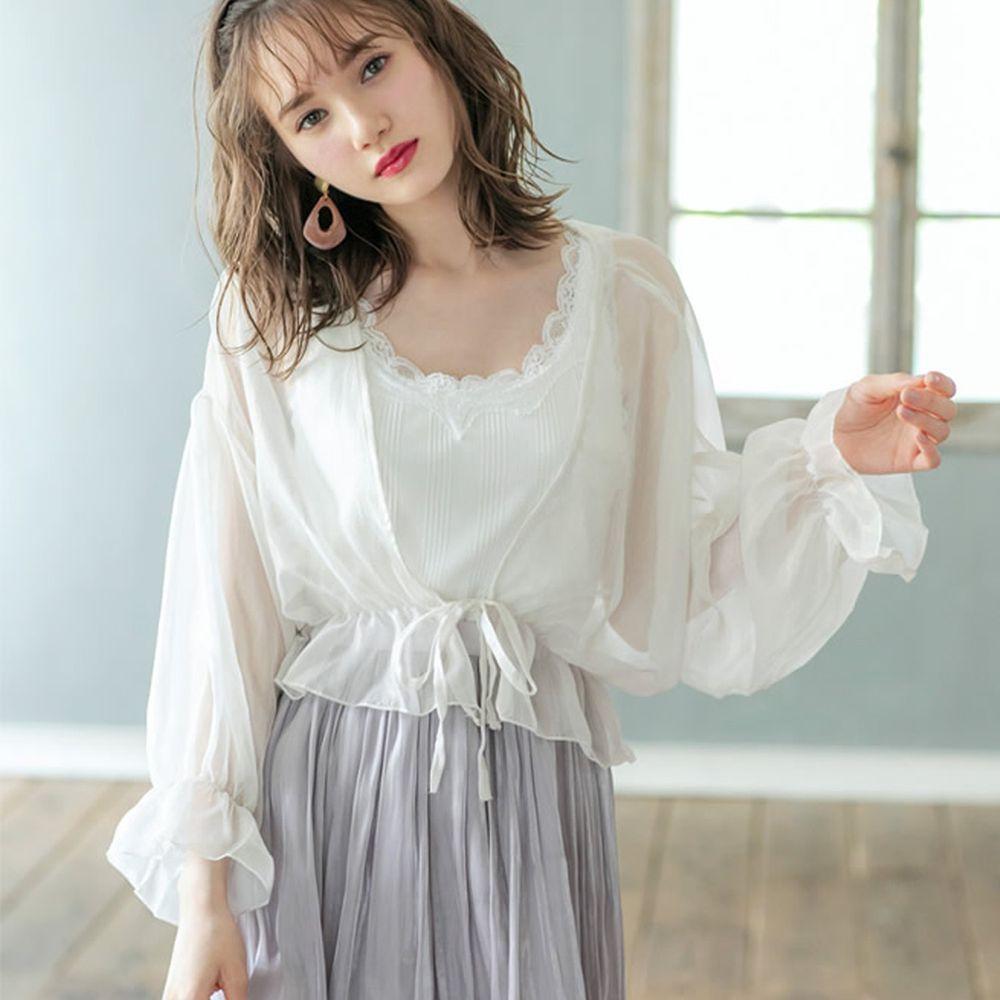 日本 GRL - 質感薄紗透膚公主袖綁帶短外套-天使白