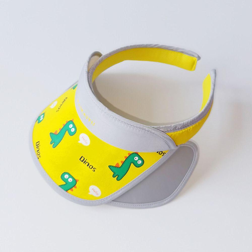 兒童大帽沿空頂遮陽帽-恐龍-黃色 (50-53cm)