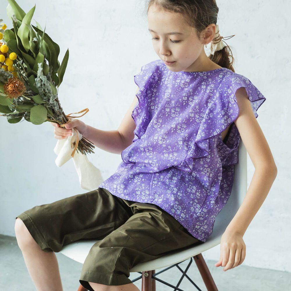 日本 PAIRMANON - 純棉華麗超大荷葉無袖上衣-碎花-紫