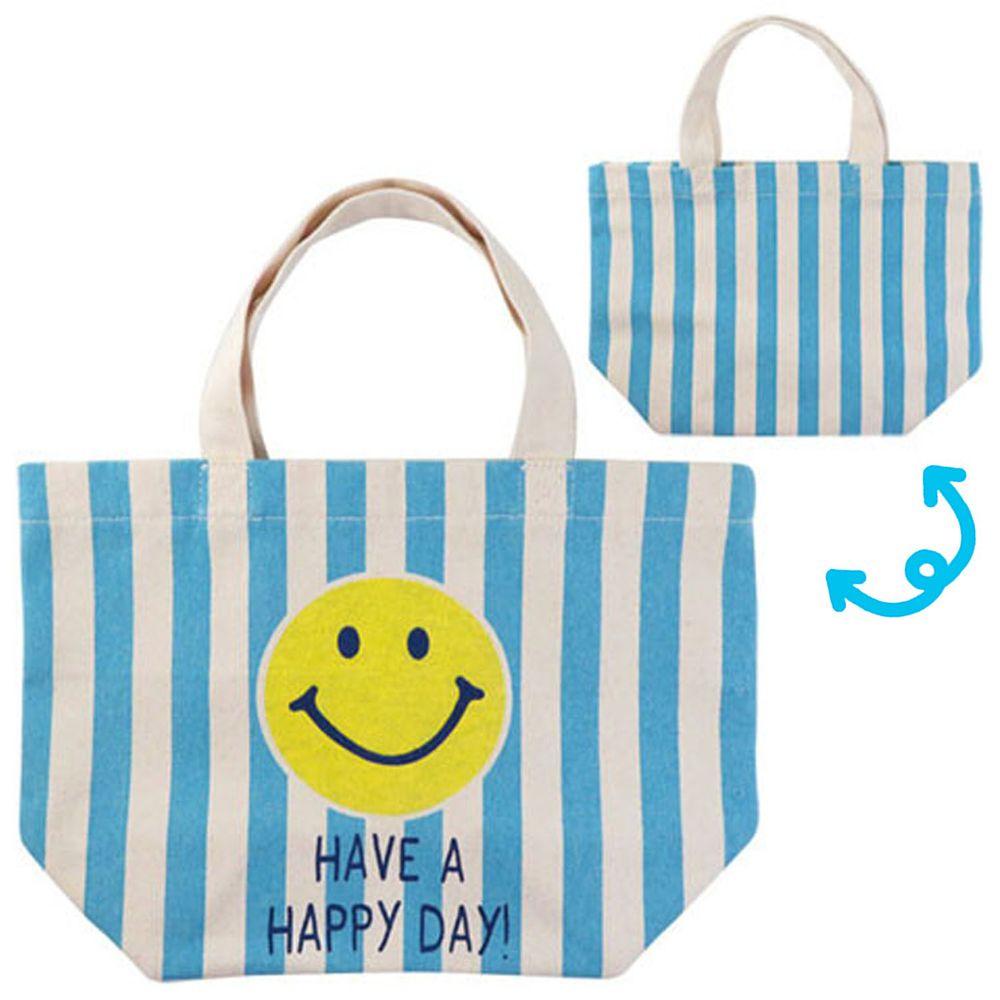 日本 OKUTANI - 童趣插畫純棉手提袋-笑臉-藍條紋 (29x20cm)