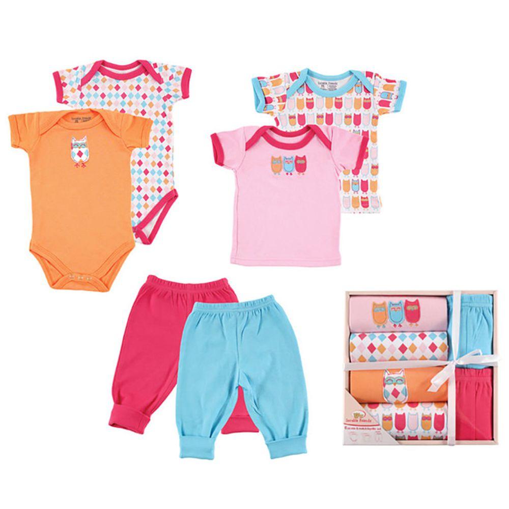 美國 Luvable Friends - 嬰幼兒包屁衣與長褲6入禮盒組-貓頭鷹家族 (0-3M)