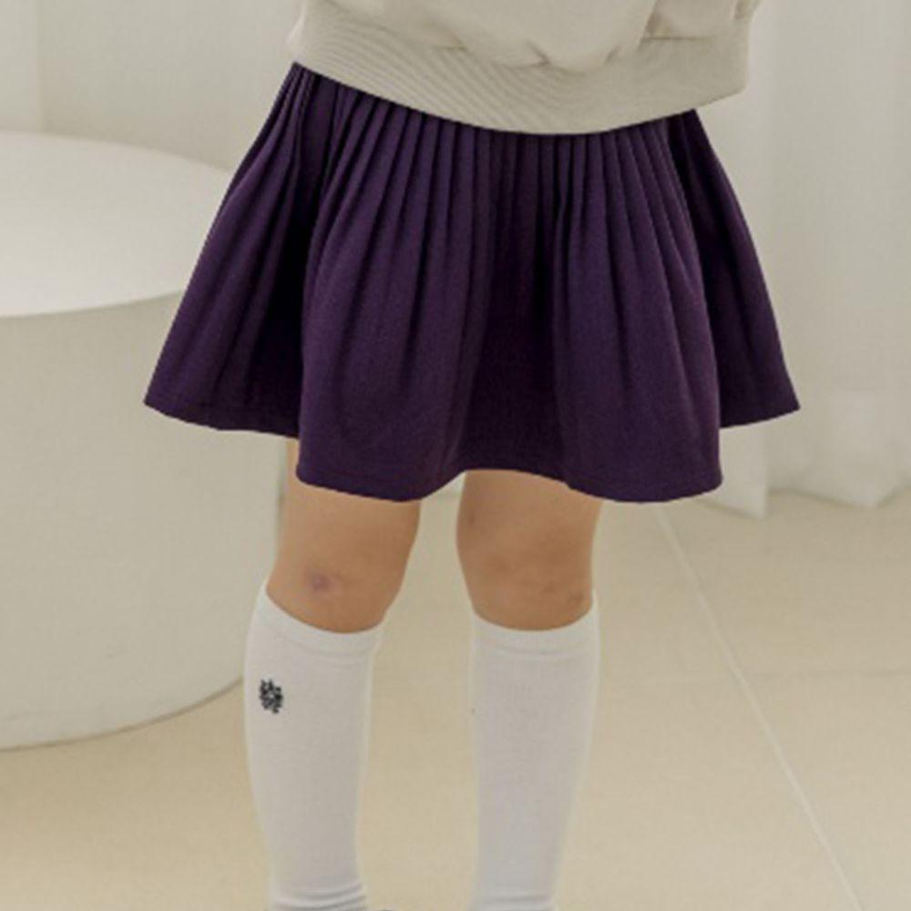 韓國 Orange Mom - 皺摺百搭短裙-深紫