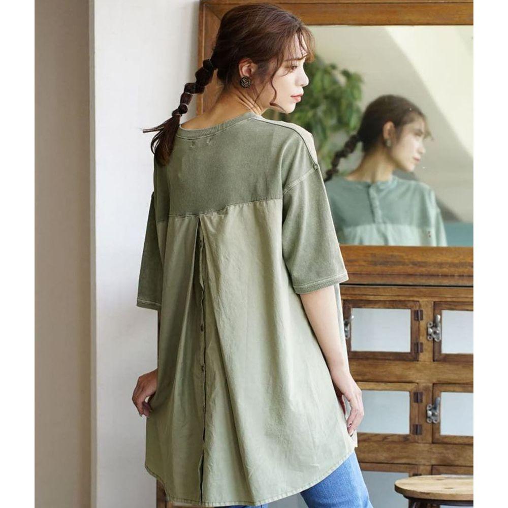 日本 zootie - 純棉異材質排釦後打褶設計寬鬆薄五分袖上衣-墨綠