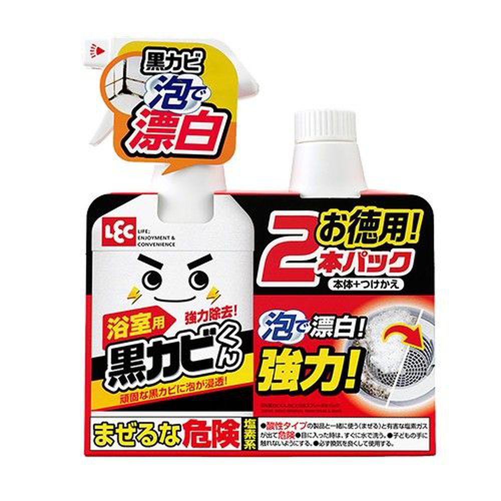 日本 LEC - 黑霉君強力除霉泡泡噴劑2入組800ml-400ml x 1瓶 + 400ml補充瓶x1