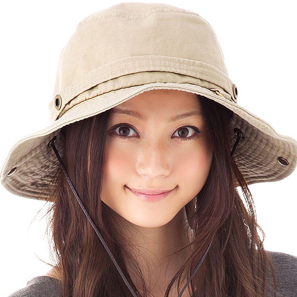 日本服飾代購 - 2way 抗UV探險風金屬釦遮陽帽(附防風帽帶)-氣質杏-純棉