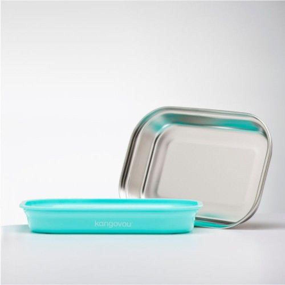 美國 Kangovou - 不鏽鋼安全兒童餐具-平板餐盤-薄荷綠 (26*19*5(長*寬*高))