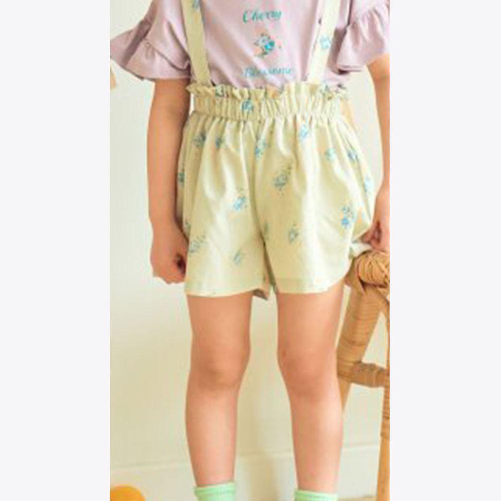 韓國 Hanab - 花花後背交叉吊帶褲裙-淺綠