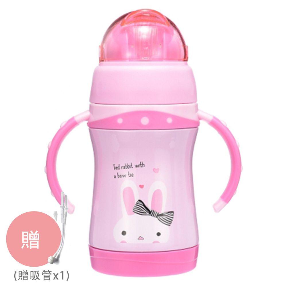 BABY TALK - 可愛動物不鏽鋼2用水杯兒童水壺-蹦蹦兔-粉紅色 260ml-獨家贈替換吸管*1
