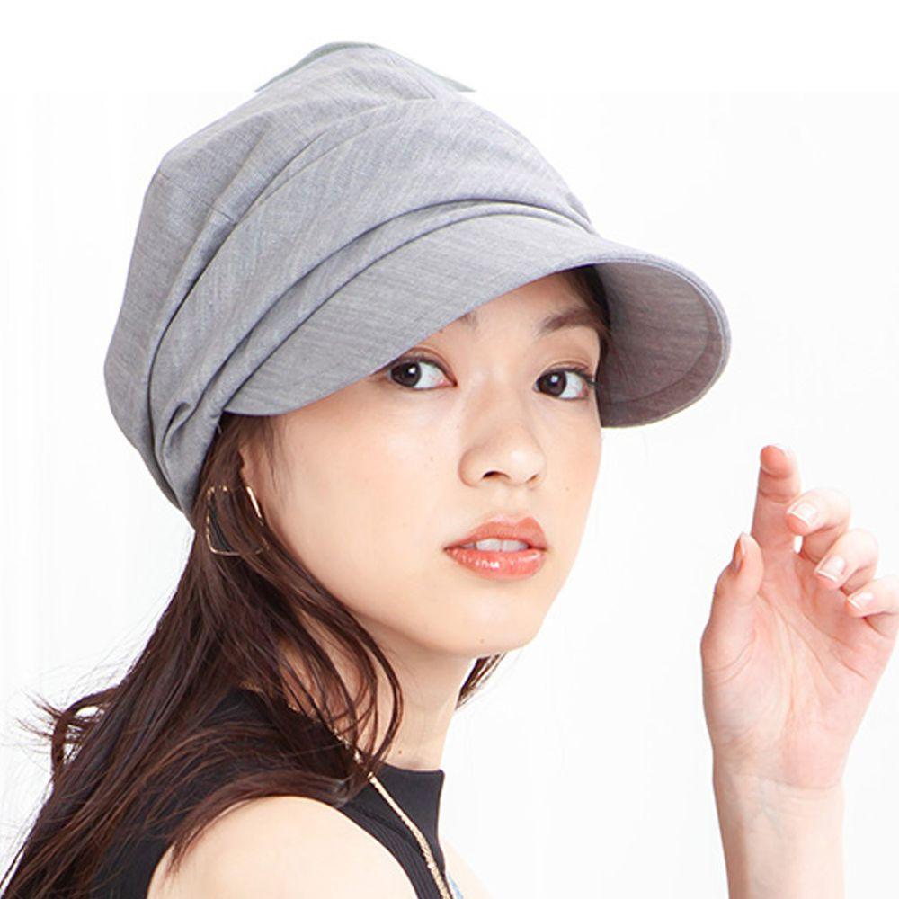 日本 irodori - 【irodori】抗UV小顏效果遮陽帽(皺摺設計)-丹寧灰