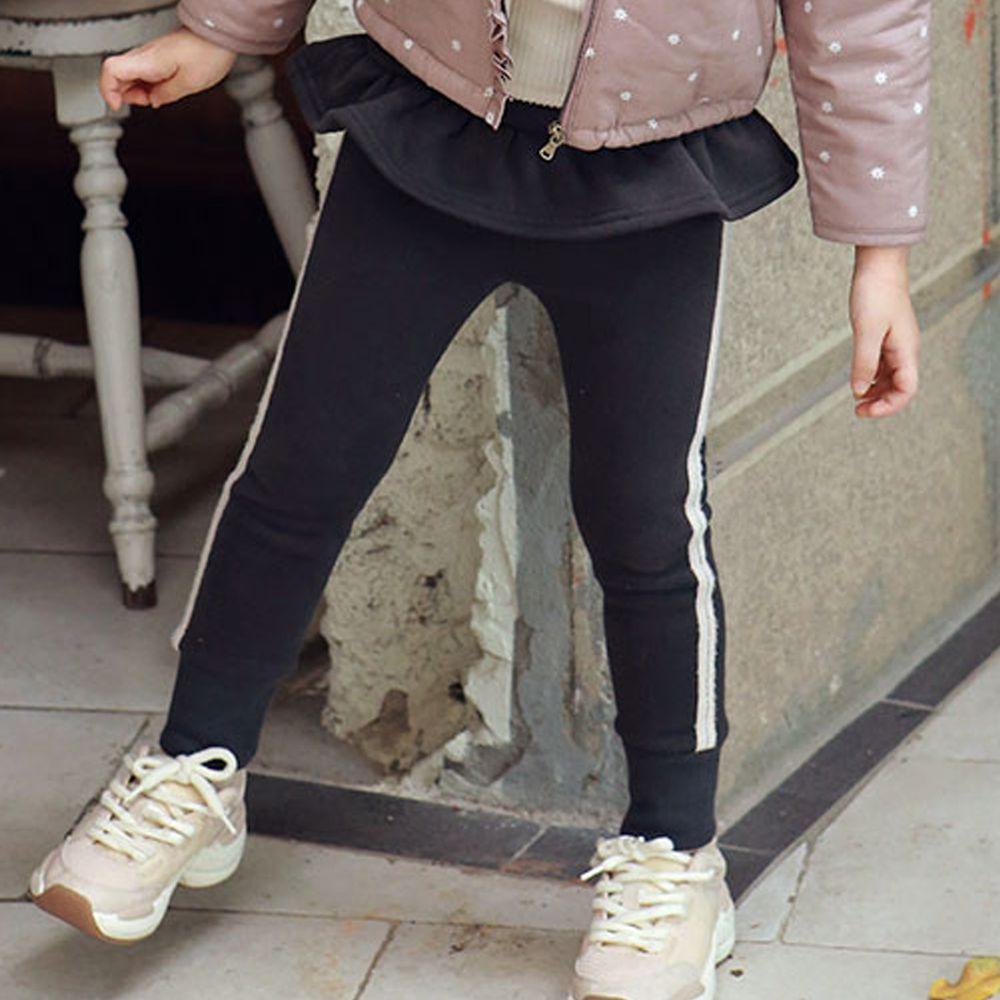 韓國 PuellaFLO - 荷葉裝飾白邊縮褲管長褲-深灰
