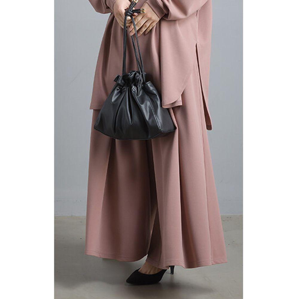 日本女裝代購 - 不易皺鬆緊傘襬褲裙-粉杏