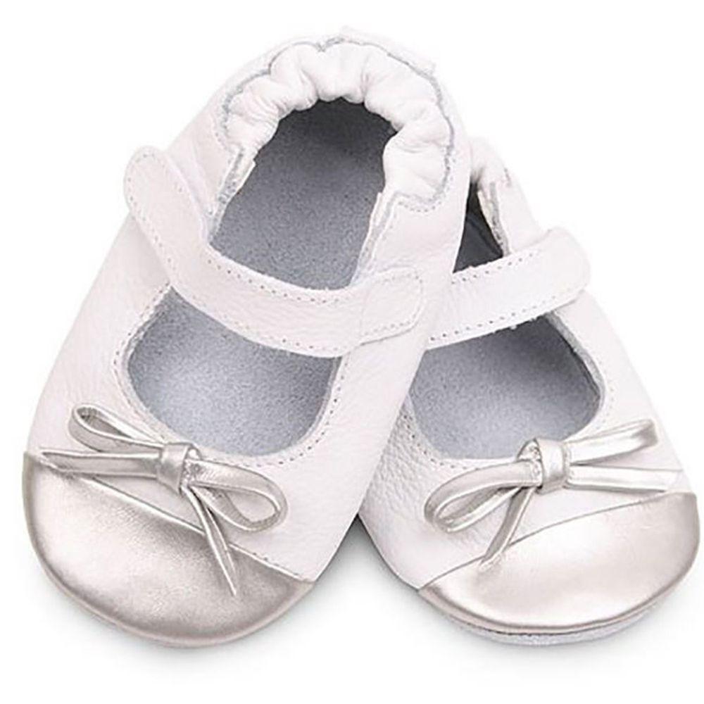 英國 shooshoos - 健康無毒真皮手工鞋/學步鞋/嬰兒鞋/室內鞋/室內保暖鞋-銀白芭蕾