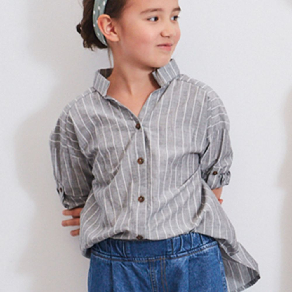 麗嬰房 Little moni - 長版條紋襯衫-灰色