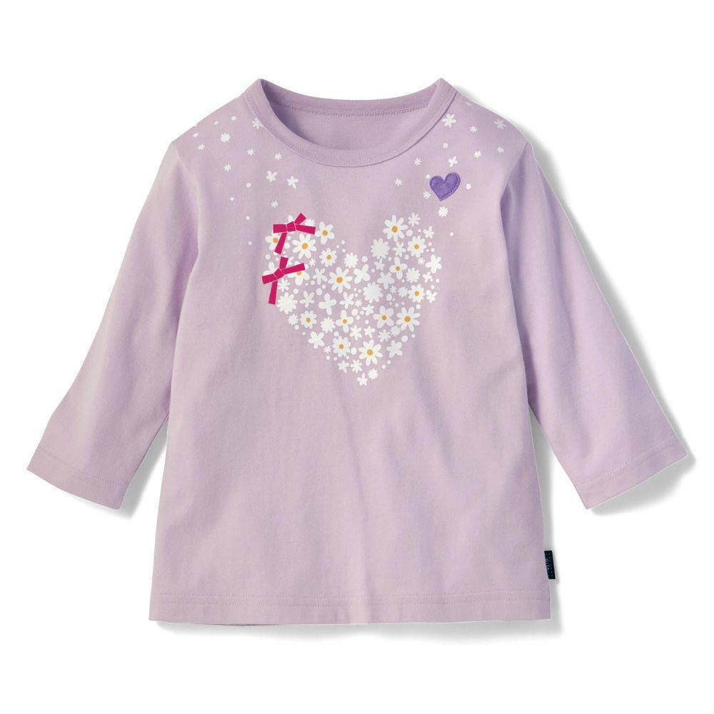 日本千趣會 - GITA 純棉七分袖T-愛心花圈-紫