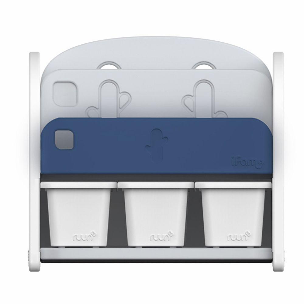 韓國 iFam - 書架收納組 〈附白色收納盒x3〉-深藍色