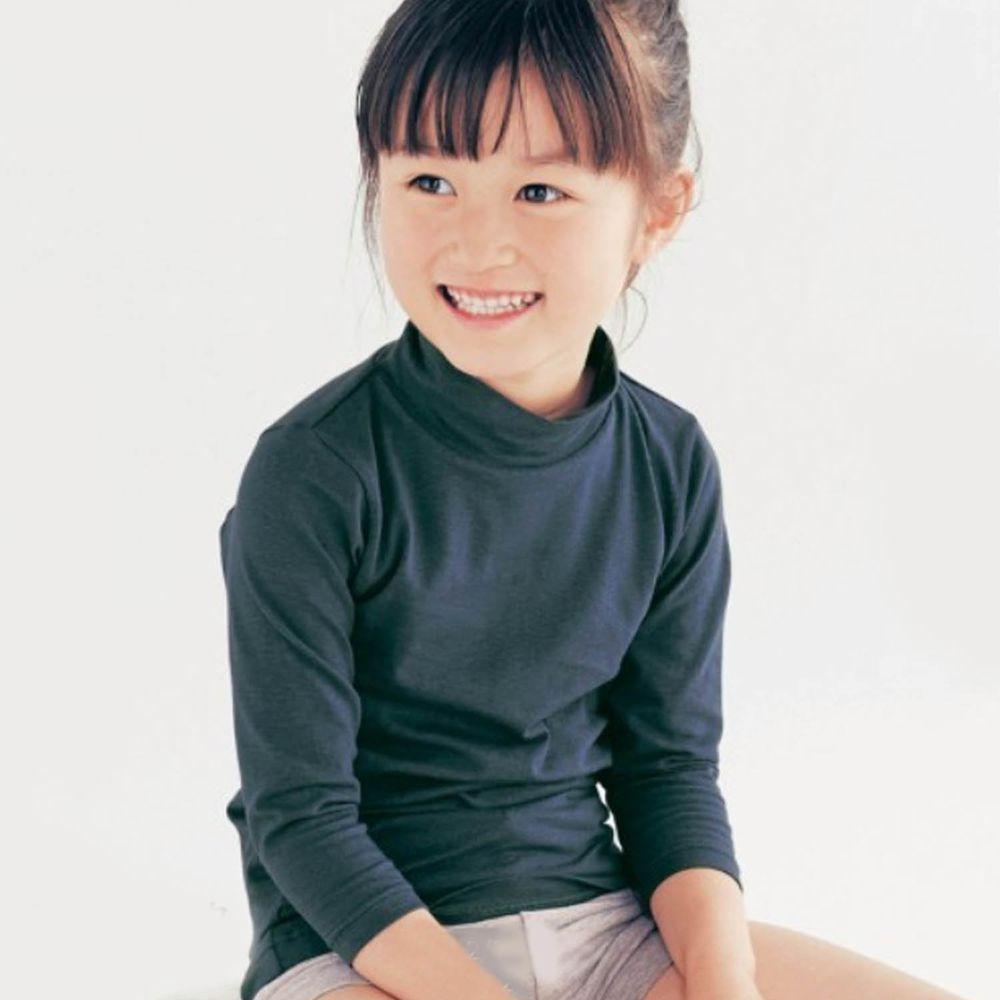 日本千趣會 - 95%棉 (兒童)九分袖高領發熱衣-深藍
