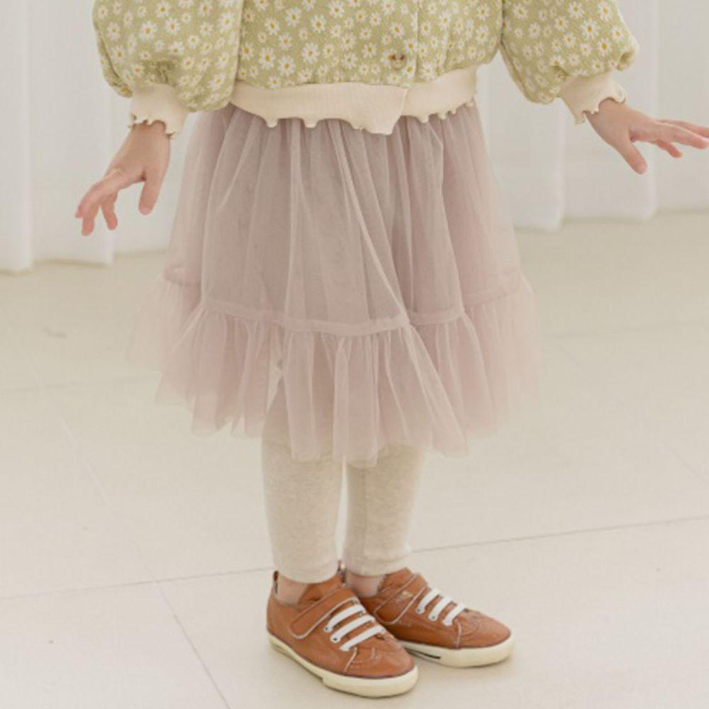 韓國 Orange Mom - 網紗褲裙-淺咖