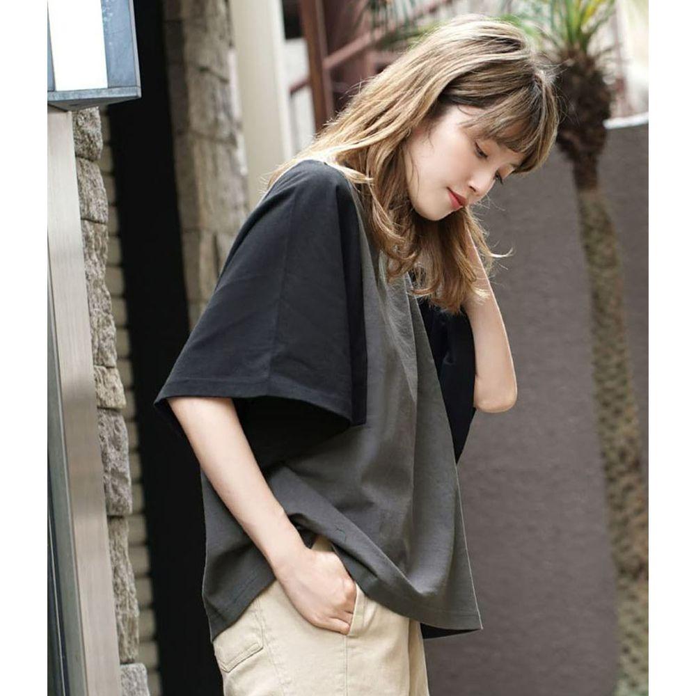 日本 zootie - 抗透汗 撞色顯瘦設計寬版五分袖上衣-深灰X黑