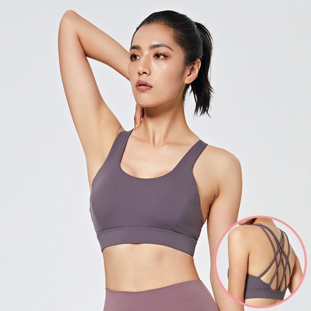 交叉美背防震背心bra-紫色