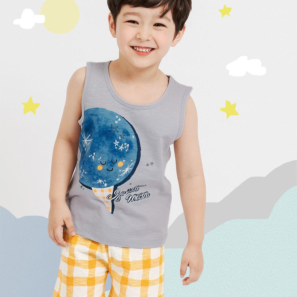 韓國 Mellisse - 韓製極致細柔無袖家居服(無螢光棉)-閃閃月亮冰淇淋-灰藍