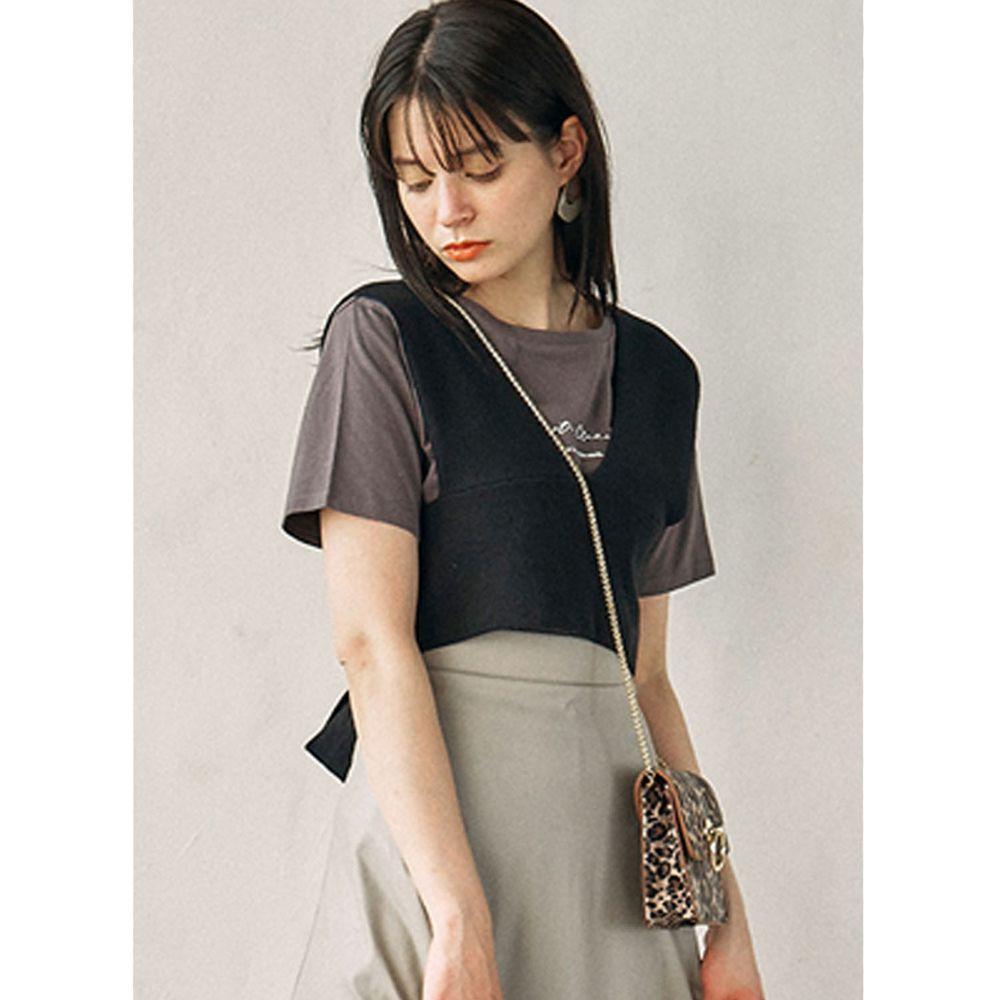 日本 GRL - 後大蝴蝶結綁帶層次穿搭針織背心-時尚黑