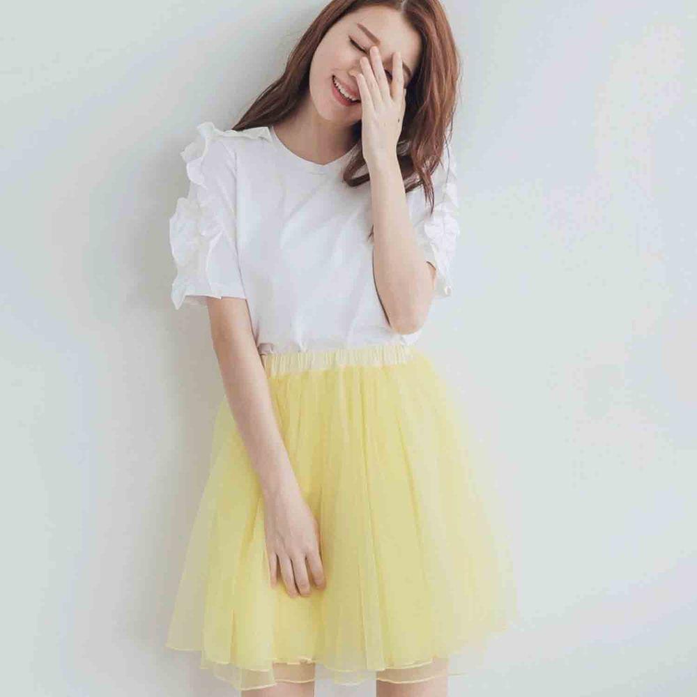 Peachy - 獨家訂製綿柔空氣紗裙-短裙款-嫩鵝黃 (F)