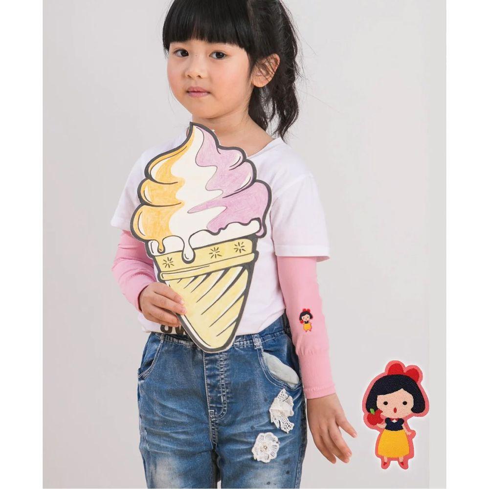 貝柔 Peilou - UPF50+兒童高效涼感防蚊抗UV袖套-(貼布繡)-白雪公主-粉 (F)