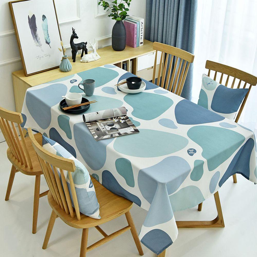 防水防油免洗桌布-彩色石頭-水藍色