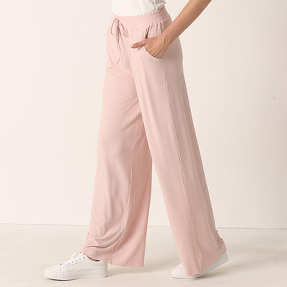 ALWAYS - 涼感舒適坑條休閒寬褲-落地-粉色