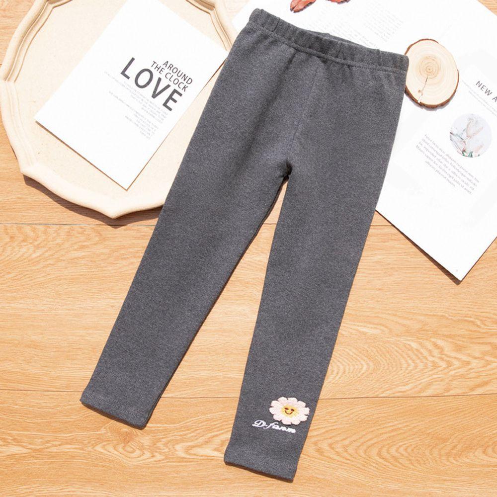 FANMOU - 內搭褲-太陽花字母-深灰色