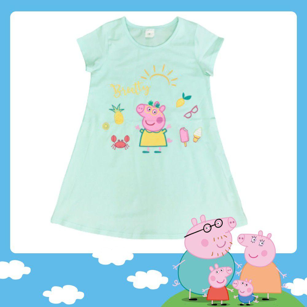 粉紅豬小妹 - 冰瓷棉佩佩豬女童連身衣-綠