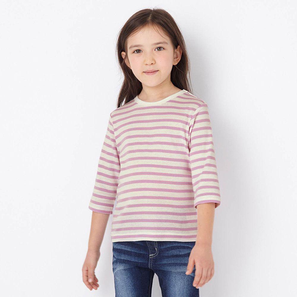 日本千趣會 - GITA 純棉輕薄舒適七分袖T-橫條紋-紫