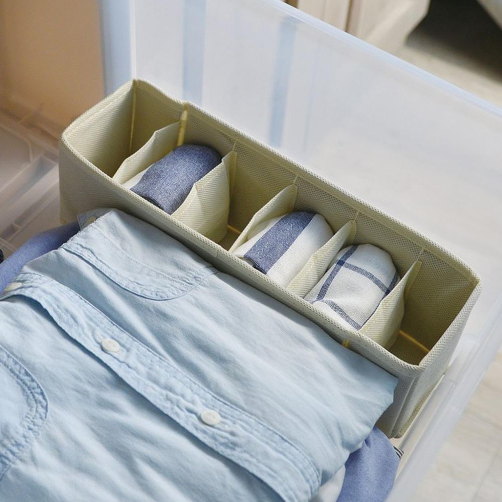日本天馬 - 抽屜用6小格分類收納布盒-面寬9cm-2入