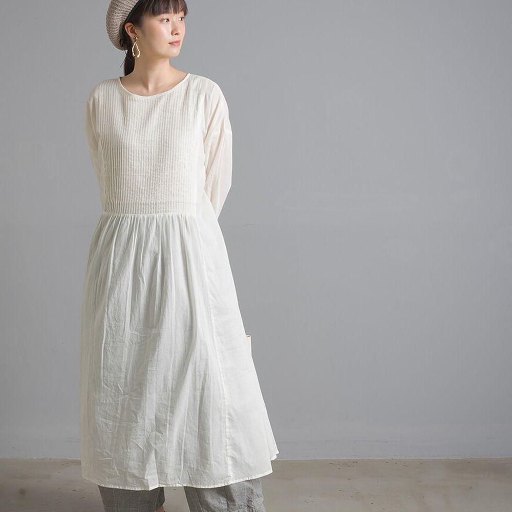 日本女裝代購 - 2way森林感排扣純棉洋裝/罩衫-白 (Free size)