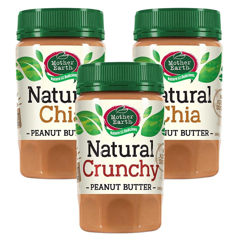壽滿趣 - 紐西蘭Mother Earth超級花生醬3瓶組-顆粒1+奇亞籽2 (380gx3)