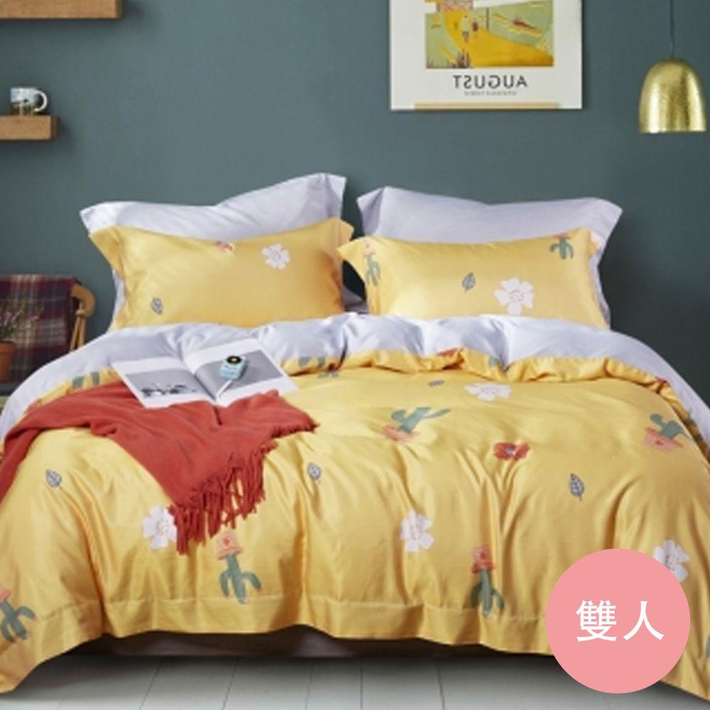 PureOne - 吸濕排汗天絲-熱浪-雙人床包枕套組(含床包*1+枕套*2)