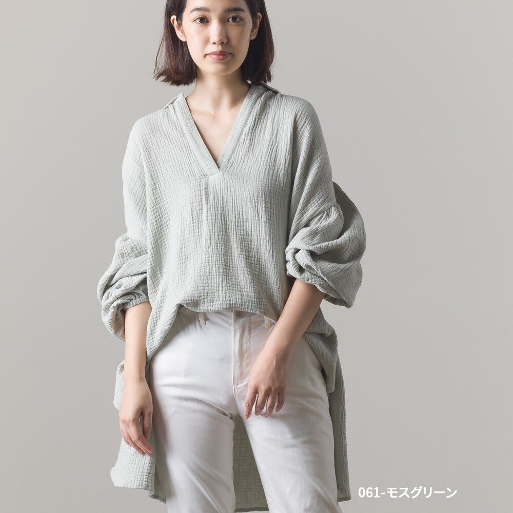 日本女裝代購 - 純棉皺摺風V領前短後長慵懶長T-灰綠 (Free size)