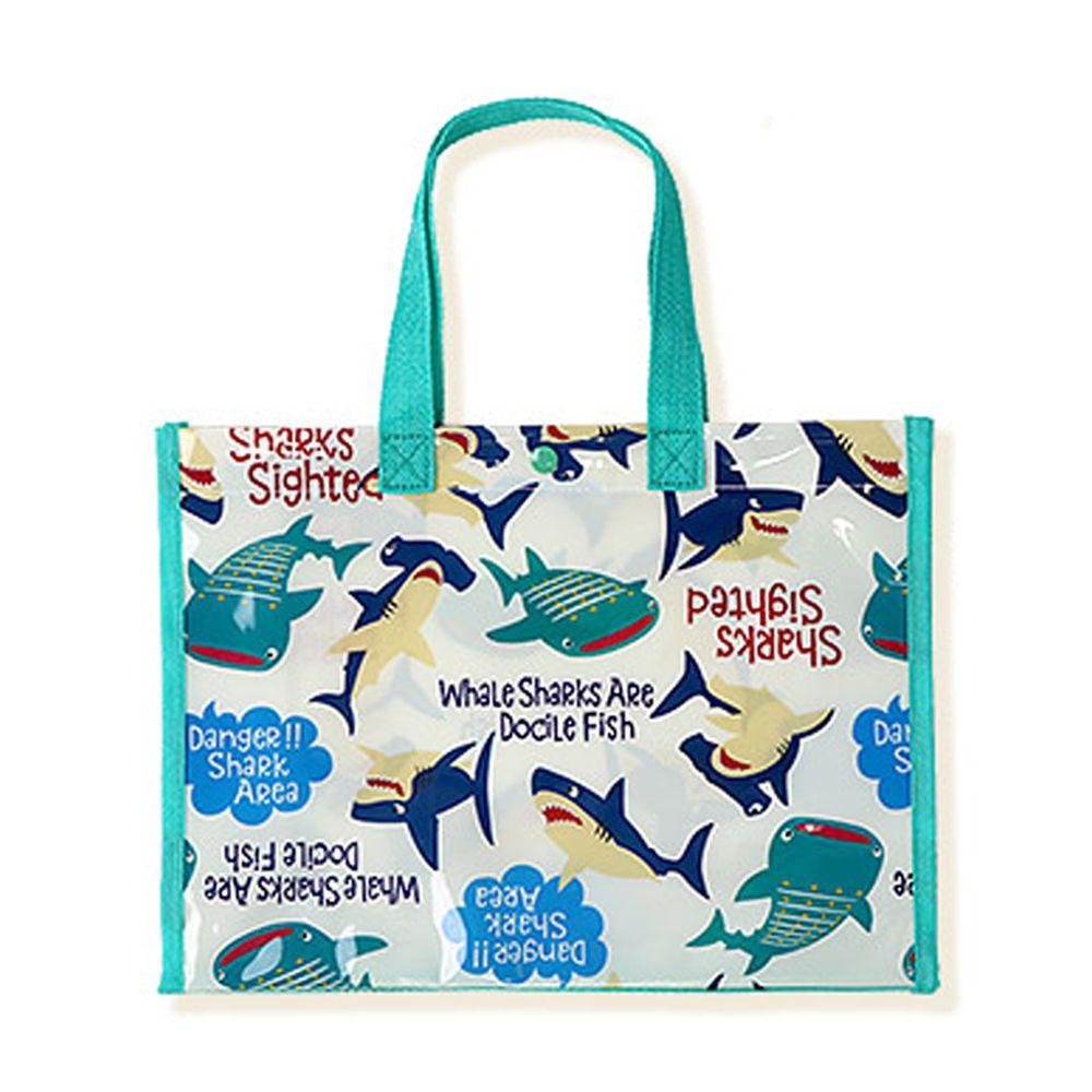 日本 ZOOLAND - 防水PVC手提袋/游泳包-A鯨鯊兄弟-白 (25x34x11cm)