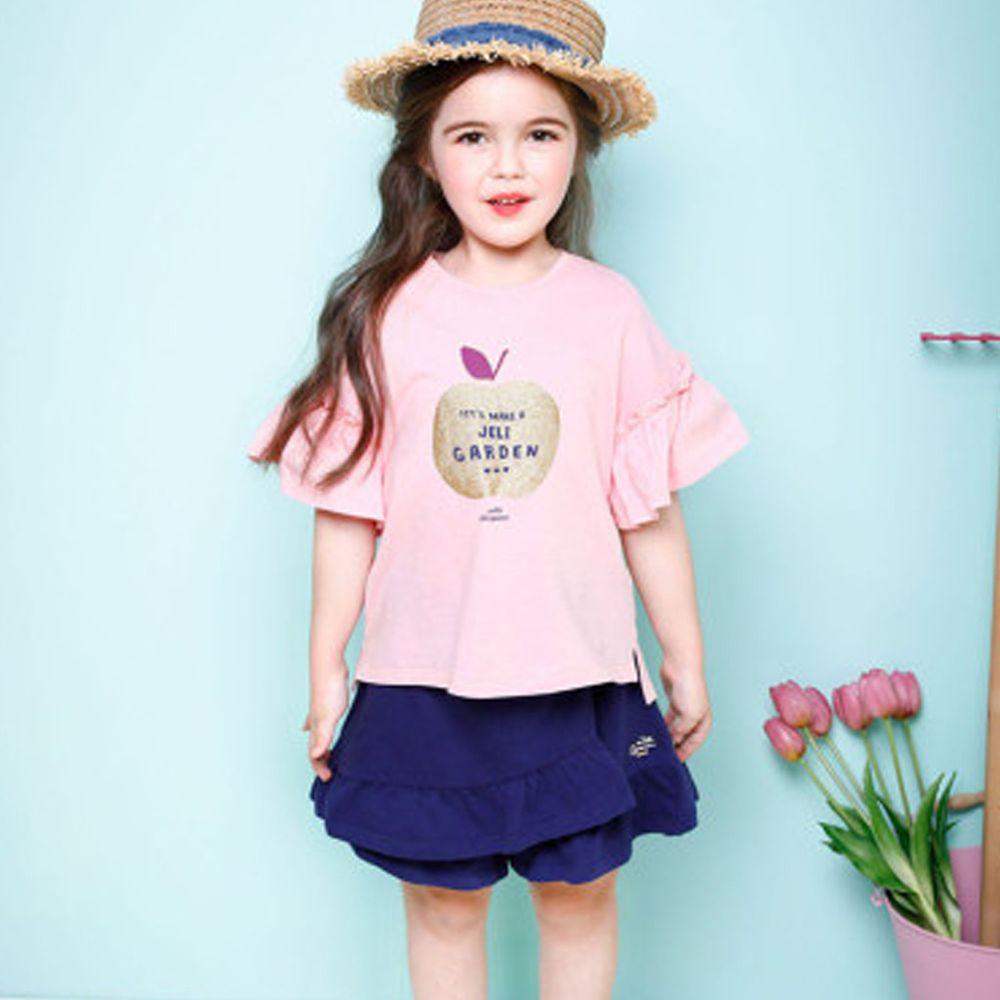 韓國 Jelispoon - 蘋果不規則荷葉褲裙套裝-粉紅X深藍