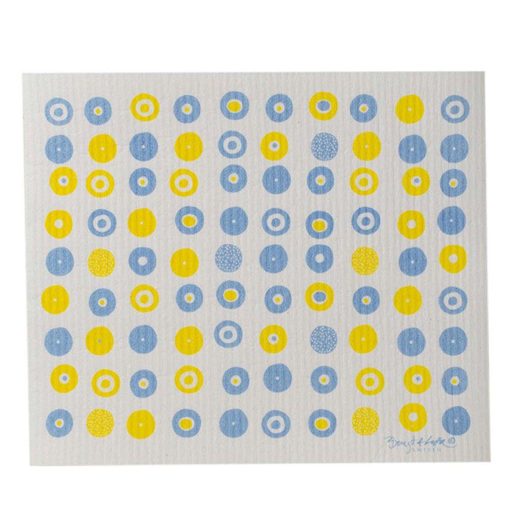 日本代購 - 德國製 北歐風環保高吸水海綿抹布/吸水巾-幾何波點-黃 (30.4x25.7cm)